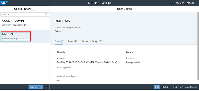 15_user created_Setting up the SAP Hana Cockpit _How to Configure the SAP HANA Cockpit 2.0