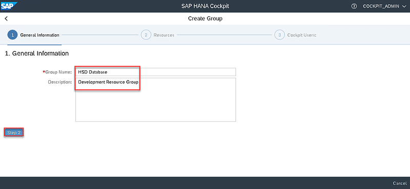 23_group name and description_Setting up the SAP Hana Cockpit _How to Configure the SAP HANA Cockpit 2.0