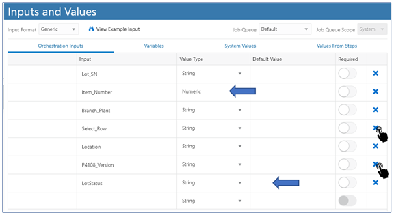 33_inputs and values_Creating the Orchestrator_Orchestrator Tutorial by Example and New Features Under 9.2.5.3_Createch