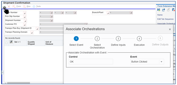 47_shipment confirmation_Link the orchestration to the p4205 w4205k form by clicking on ok_Orchestrator Tutorial by Example and New Features Under 9.2.5.3_Createch