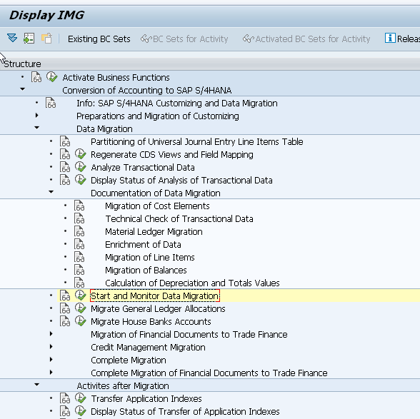 SAP Display IMG_Start and Monitor Data Migration_SAP S4HANA Conversion Doesnt End With Migration of Database_SAP S4HANA Conversion Project_Lessons Learned_Createch