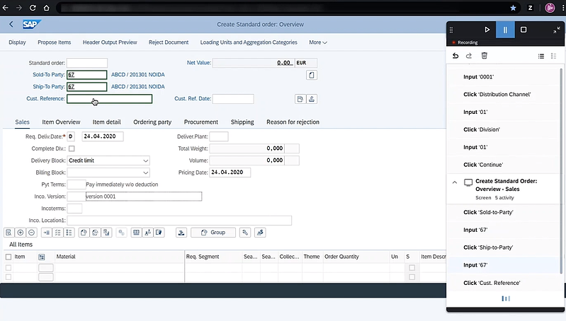 Sneak preview of the RPA recorder tracking complex sap screen_SAP RPA 2.0 is here to take robot out of humans_Four takeaways from SAP TechEd 2020_Createch